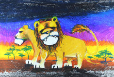 Lion drawing. Background Royalty Free Stock Image