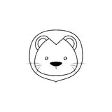 Lion Drawing Face Stock Image