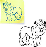 Lion drawing on post it note.  Royalty Free Stock Photo