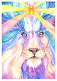 Lion Drawing watercolor and colored pencil Royalty Free Stock Image