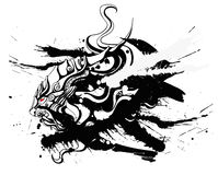 Lion drawn. In the Chinese style Royalty Free Stock Photo