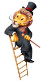 Lion in dress coat. Cartoon banner with lion in dress coat Royalty Free Stock Image