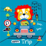 Lion the driver car funny animal cartoon,vector illustration. For t shirt and wallpaper or book stock illustration