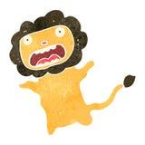 lion effrayé rétro par bande dessinée illustration libre de droits
