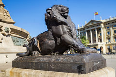 Lion - an element of the monument to Christopher Columbus at the Royalty Free Stock Photography
