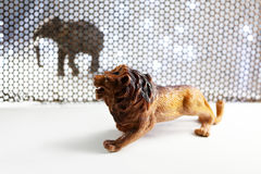 The Lion and Elephant model. stock photo