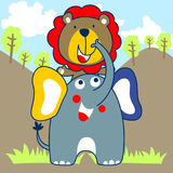 Lion and elephant vector cartoon Royalty Free Stock Images