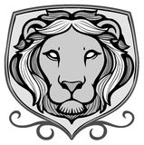 Lion emblem. Monochrome lion emblem with shield Stock Photography