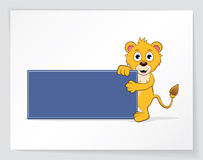 Lion with empty banner. Colorful cartoon of lion with empty banner Royalty Free Stock Photos