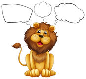 A lion with empty bubble notes Royalty Free Stock Photos