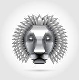 Lion en acier en métal de polygone Photographie stock libre de droits
