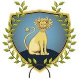 Lion en guirlande de laurier Photographie stock
