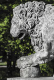 Lion en pierre en parc Photo stock