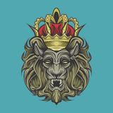 Lion et couronne illustration stock