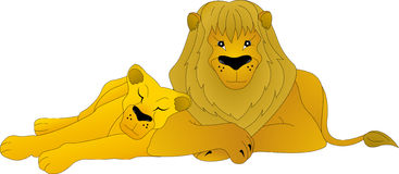 Lion et lionne Images libres de droits