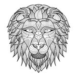 Lion. Ethnic patterned head of lion on white background/ african / indian / totem / tattoo design. Use for print, posters, t-shirts,logo,coloring page Stock Photo