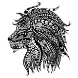 Lion. Ethnic patterned head of lion on white background/ african / indian / totem / tattoo design. Use for print, posters, t-shirts,logo,coloring page Royalty Free Stock Photos
