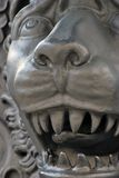 Lion face close-up. The King Cannon detail. Moscow Kremlin. It shows animal's head with open mouth and a longue seen through the teeth. Popular landmark Royalty Free Stock Images