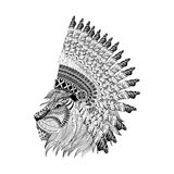 Lion face in feathered war bannet in zentangle style, Headdress Royalty Free Stock Photography
