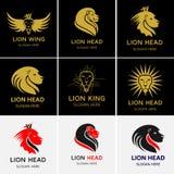 Lion Face Head-Logo Stockbilder