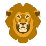 Lion face head vector illustration style flat front Royalty Free Stock Photo