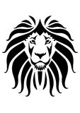 Lion face icon with black color stock illustration