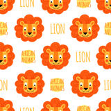 Lion face with lettering on a white background isolated.  Royalty Free Stock Image