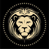 Lion face, lion head in the circle, vector logo Stock Photo