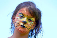 Lion Face Paint young girl Banner  Royalty Free Stock Photography
