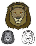 Lion Faces. Illustration of lion faces in color, grayscale and black and white Stock Photos