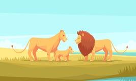 Lion Family Composition salvaje stock de ilustración