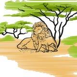 Lion Family Icon Illustration Fotografie Stock Libere da Diritti