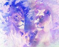 Lion family - lion, lioness and lion cub, on abstract structured background. Marble effect. Lion family - lion, lioness and lion cub, on abstract structured stock photo