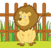 Lion and fence Royalty Free Stock Photo