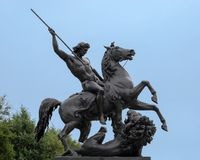 `The Lion Fighter` by Albert Wolff, outside the Philadelphia Museum of Art, Benjamin Franklin Parkway. Pictured is `The Lion Fighter` by Albert Wolff, outside stock image