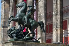 The Lion Fighter equestrian bronze statue by Albert Wolff from 1858 outside the Altes Museum in Berlin. Germany stock image