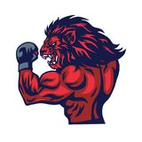 Lion Fighter Mascot Vector. Illustration Design stock illustration
