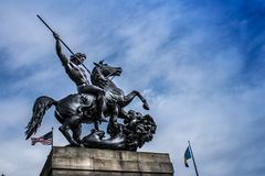 The Lion Fighter. Statue by Albert Wolff - Philadelphia Museum of Art at the Benjamin Franklin Parkway, Philadelphia, Pennsylvania, USA stock photography