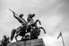 The Lion Fighter. Statue by Albert Wolff - Philadelphia Museum of Art at the Benjamin Franklin Parkway, Philadelphia, Pennsylvania, USA royalty free stock image