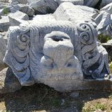 Lion figure in the ancient City of Kyzikos in Balıkesir. Lion figure marble Kyzikos Royalty Free Stock Image