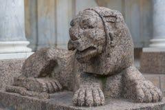 Lion figure in Petergof Stock Image