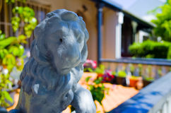 Lion figurine infront of an urban house, Sydney, Australia Stock Photo