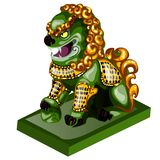 Lion figurine made of jade isolated on white background. Statuette of nephrite in the Oriental style. Vector. Illustration Royalty Free Stock Photos