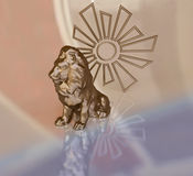 Lion Figurine with Sun Symbol Royalty Free Stock Images