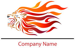 Lion fire. Illustrated isolated logo design of lion fire Stock Images