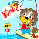 Fishing time. Lion fishing on the river get big fish, vector cartoon. EPS 10 Stock Images