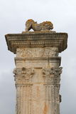 Lion upon Flavien bridge of Saint-Chamas, France stock images