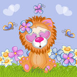 Lion with flowers stock illustration