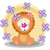 Lion with flowers Royalty Free Stock Photo