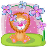 Lion with flowers Stock Photography